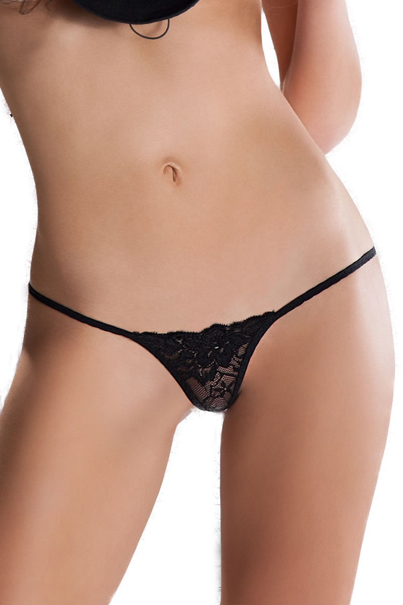 Elastic Lace  Crotchless Thong MT005 black