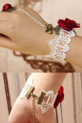 Red Rose Lace Bracelet With Bow Detail