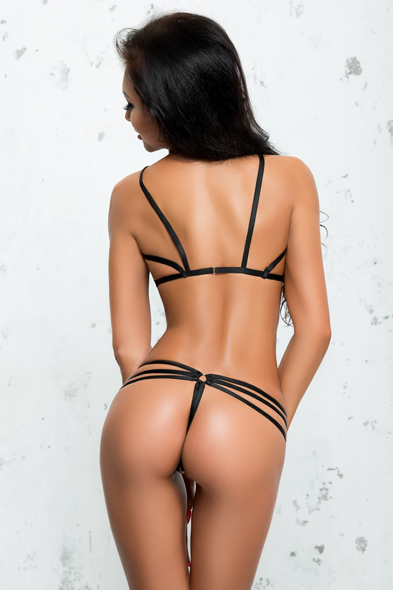 Justine Double Strap Micro Bra and G-String with Ring