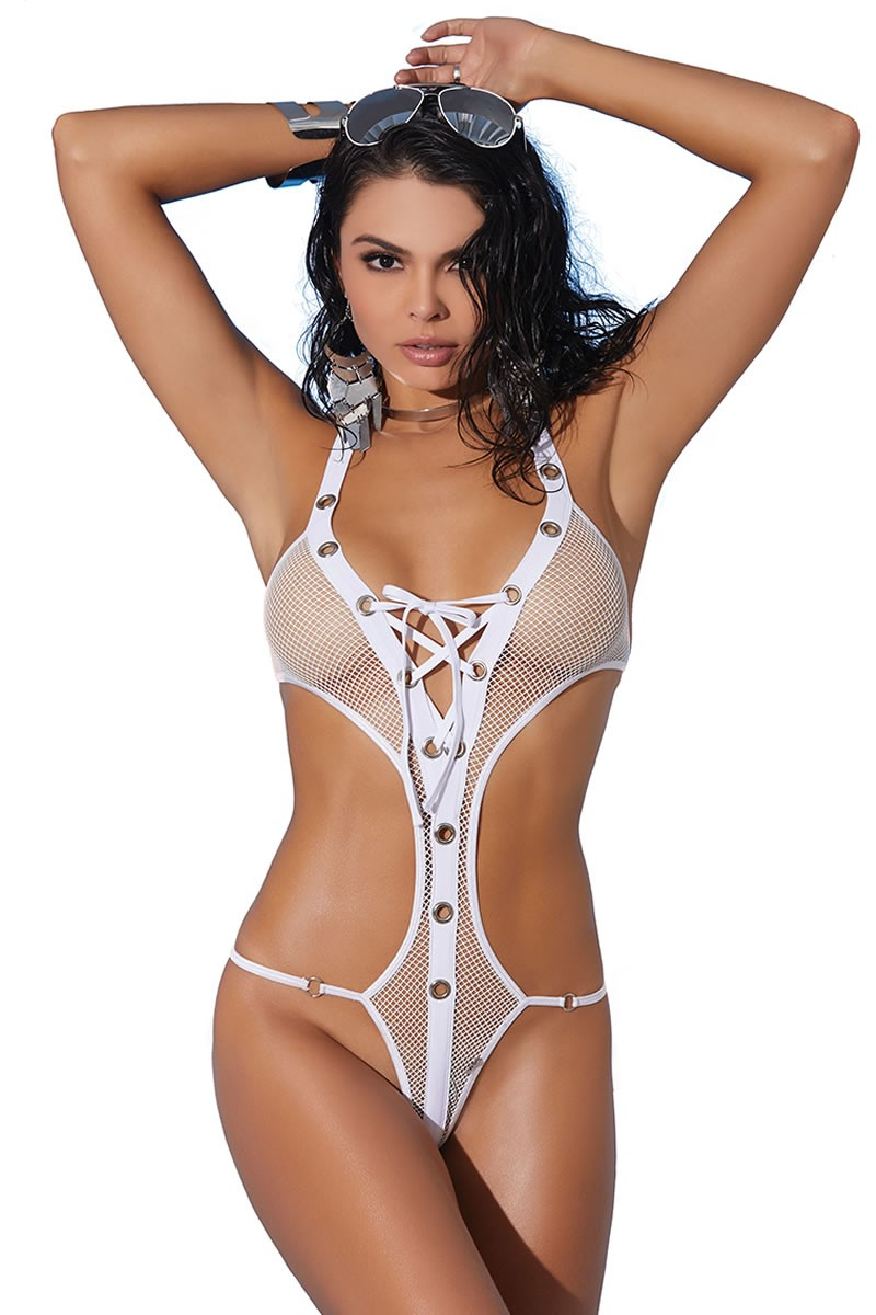 Fishnet lace up halter neck monokini.