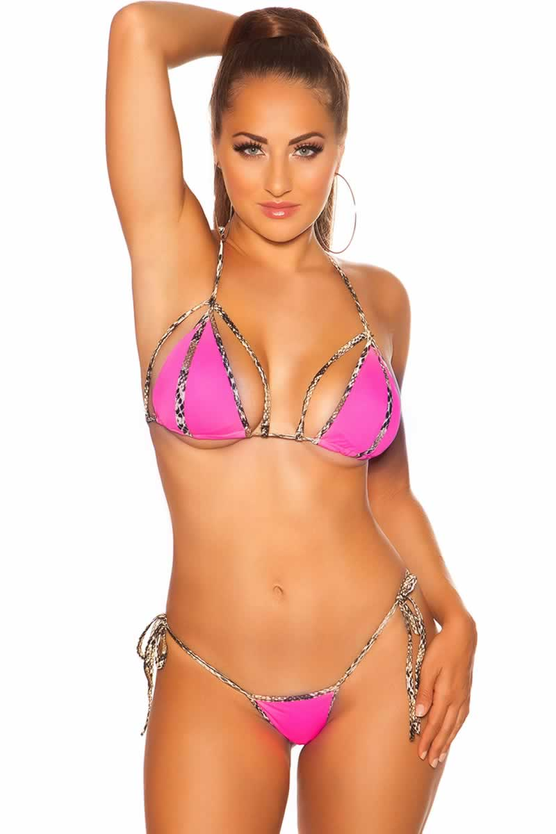 Hot Pink Neck-Bikini with removable pads